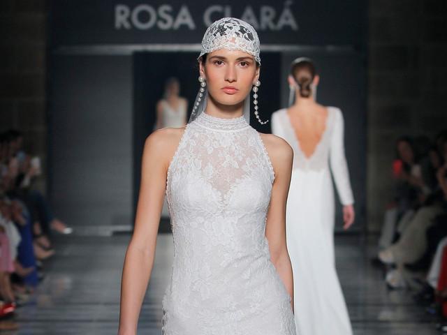 Vestidos de novia Rosa Clará 2020: juego de transparencias y fina pedrería