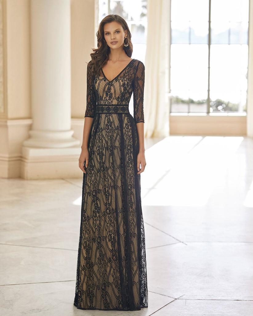 vestido largo de fiesta negro con fondo nude Aire Barcelona