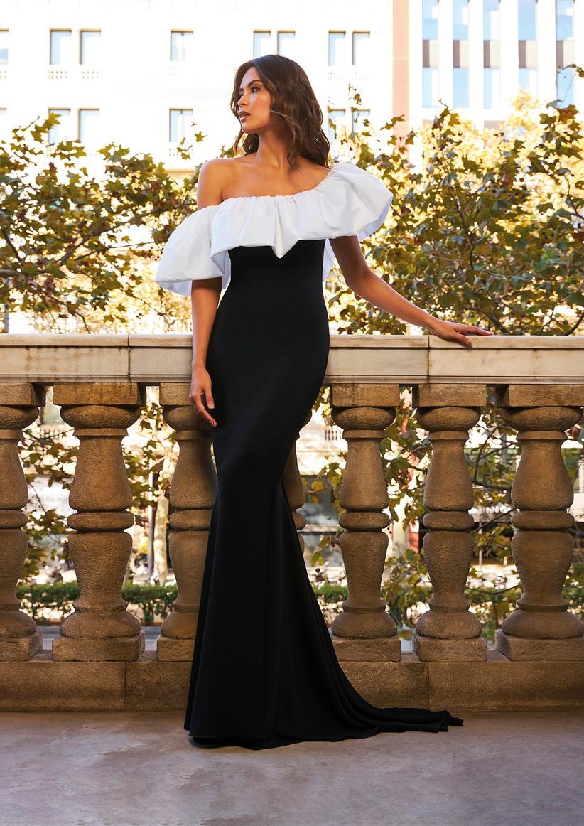 vestido de fiesta escote asimetrico blanco y negro