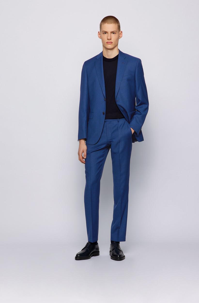 terno de novio azul Boss 2021