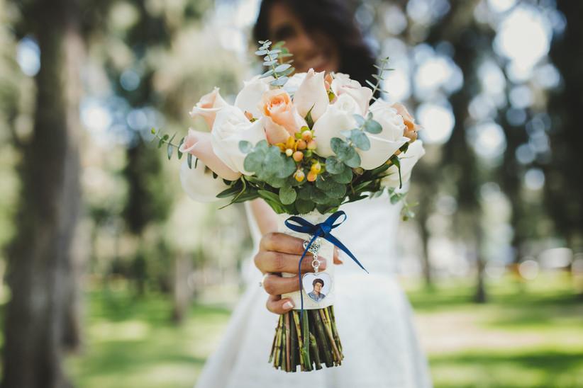 Bouquet con foto de mamá