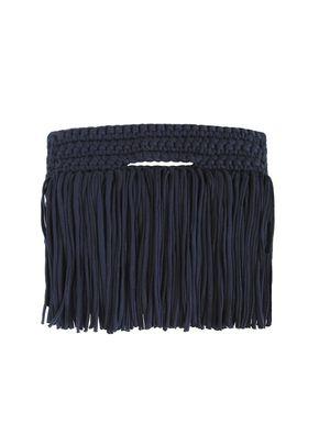 CLUTCH FRINGE OVER NAVY, Binge Knitting