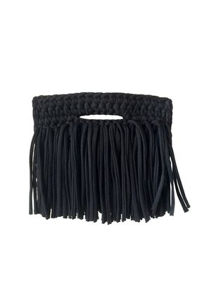 CLUTCH FRINGE OVER BLACK, Binge Knitting