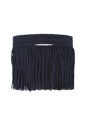 CLUTCH FRINGE OVER NAVY, Binge Knitting