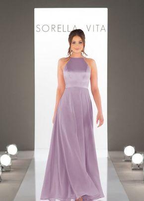 9146 Satin and Chiffon Halter Bridesmaid Dress by Sorella Vita, Sorella Vita