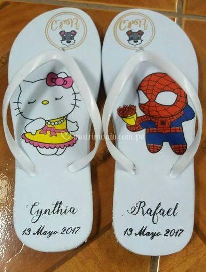 Sandalias boda personajes