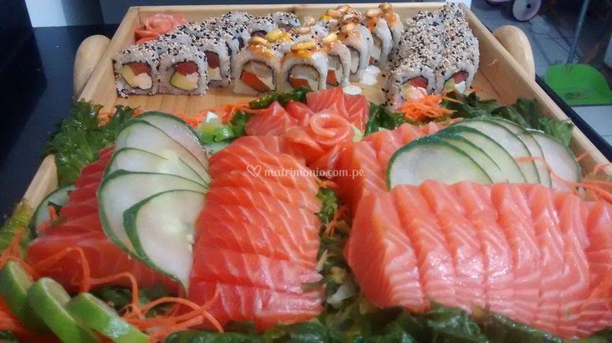 Rolls y sashimi