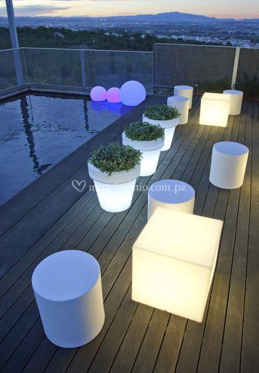 Cubos y esferas led