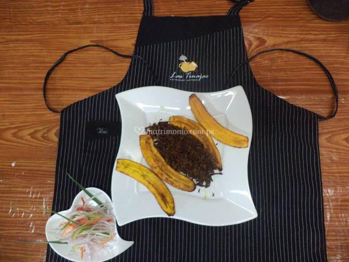 Plátano frito y cecina