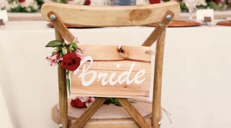 Detalles en silla de la novia