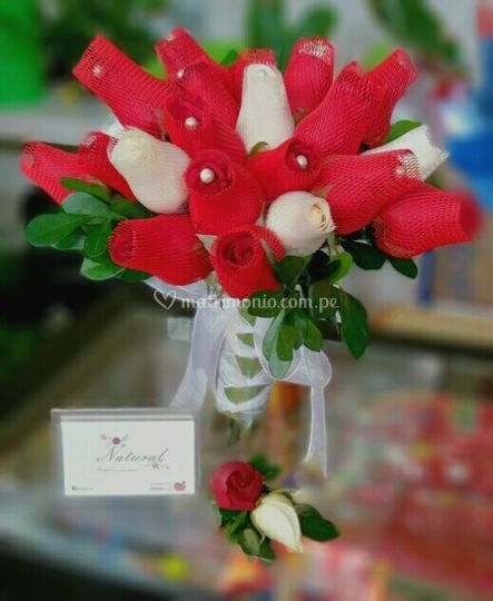 Bouquet rojo y blanco