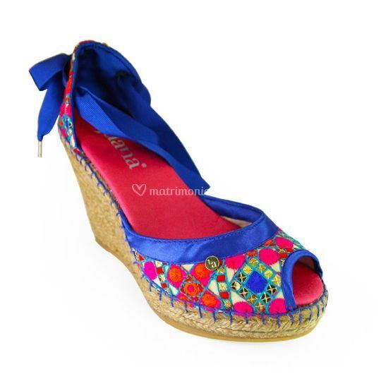 Sandalia lentejuelas azul