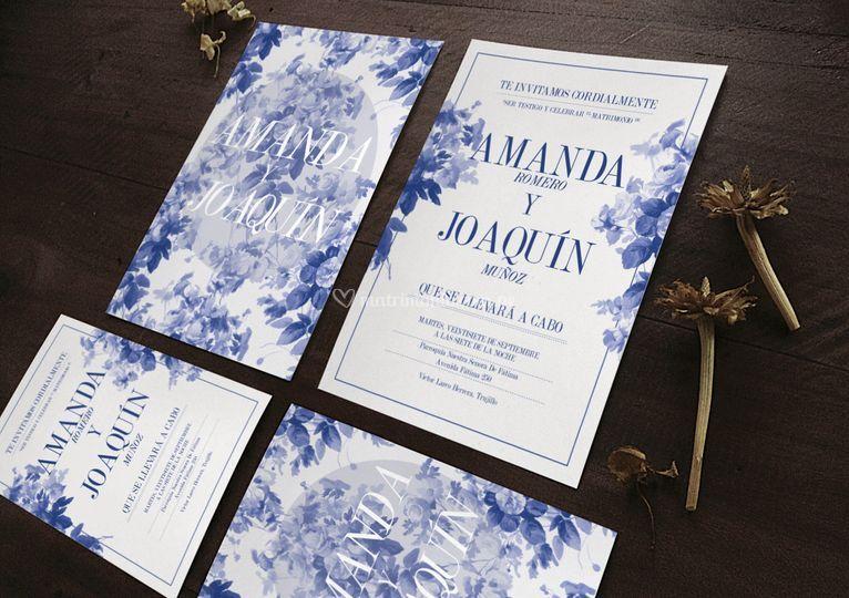 Partes en flores azules