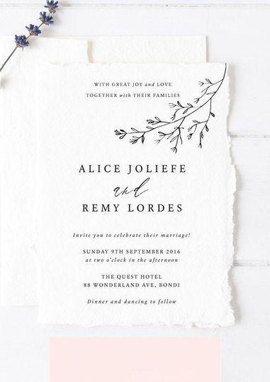 Invitación básica Alice & Remy