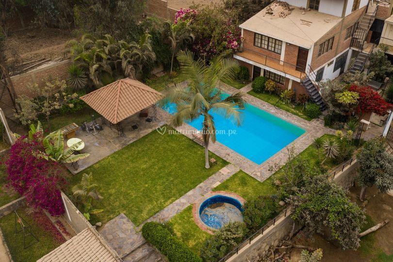 Foto aérea piscina