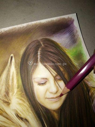 Retrato a color hecho a  mano