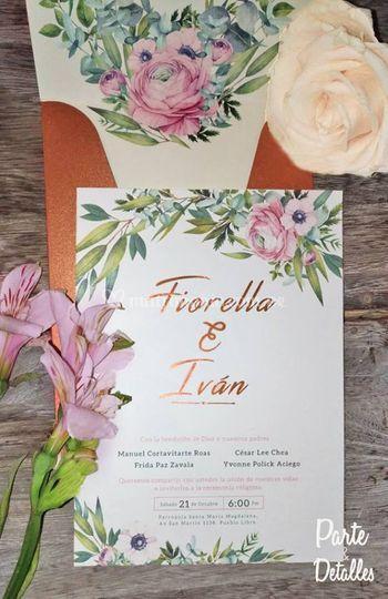 Invitación diseño floral