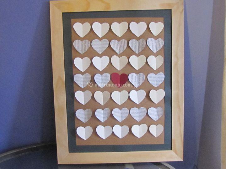 Cuadro de firmas con corazones