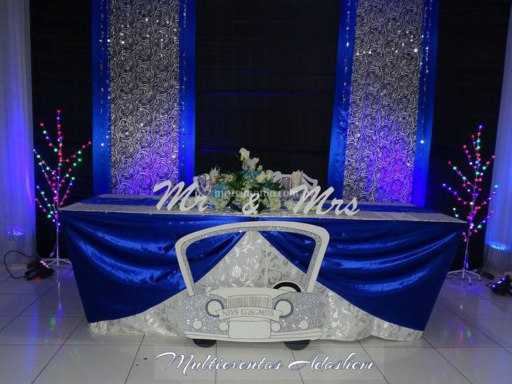 Mesa principal azul