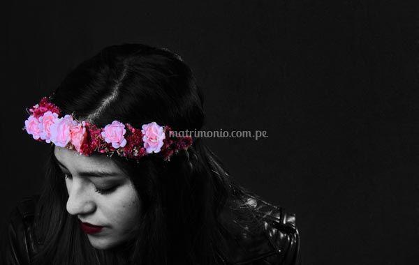 Tiara en rosas, para la novia