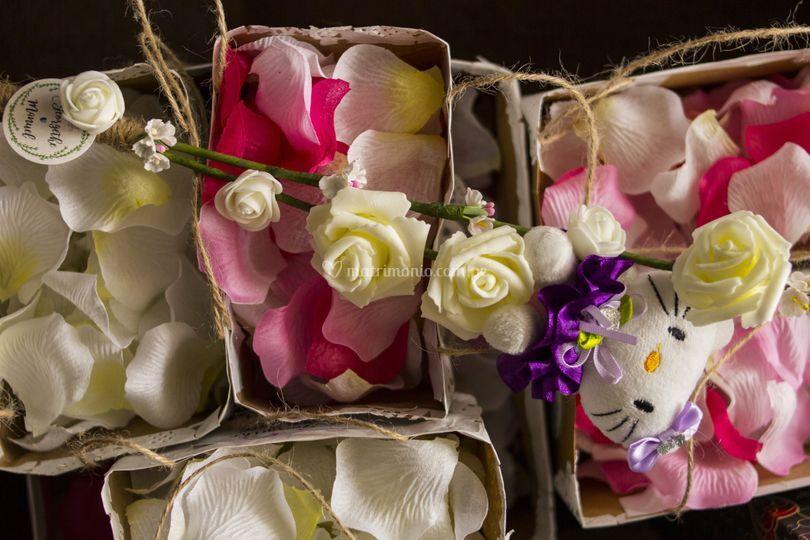 Pétalos de flores en bolsitas