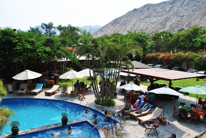 Vista superior piscina