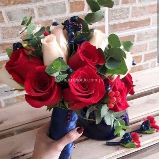 Bouquet en rojos y pastel