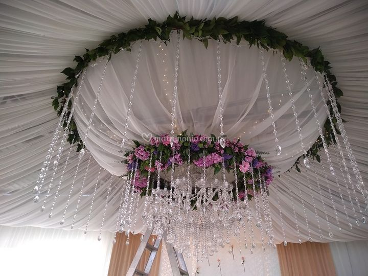 Doble cúpula floral de cristal