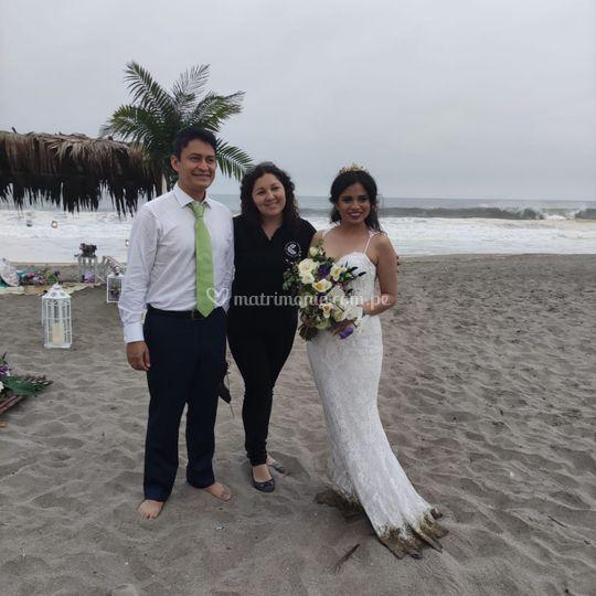 Linda boda en playa