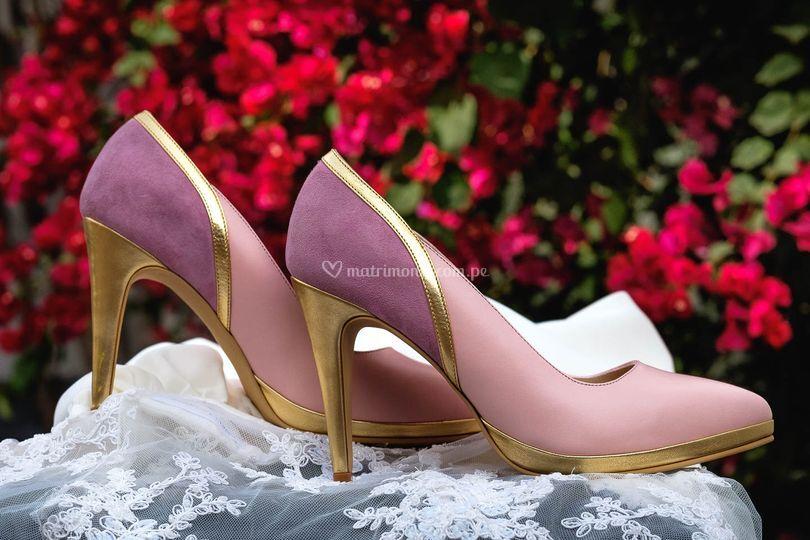 Stiletto rosa y oro