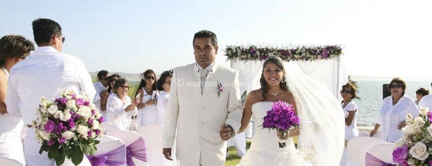 Matrimonio Simbolico En La Playa Peru : Los recién casados de bodas en la playa fotos
