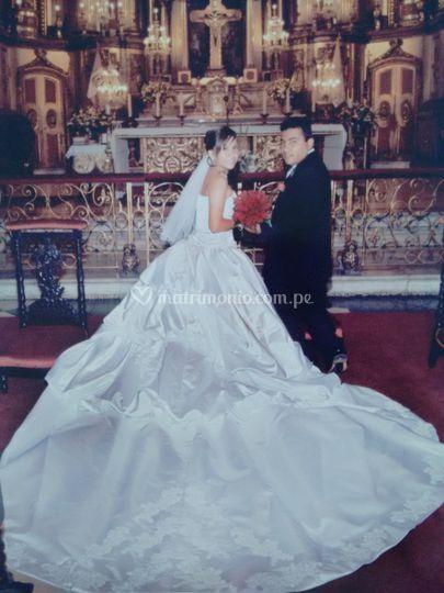 Vestido de novia con recogidos