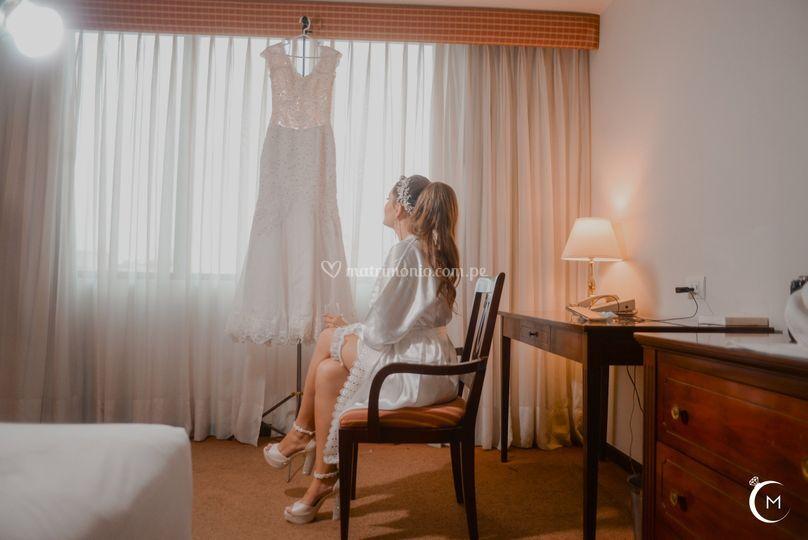 Novia en hotel