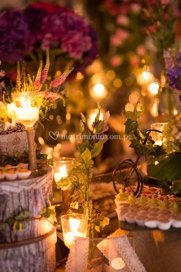 Detalles iluminación con velas