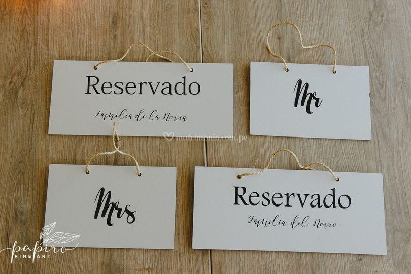 Carteles reservación asientos