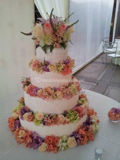 Torta de Flores lila, rosado