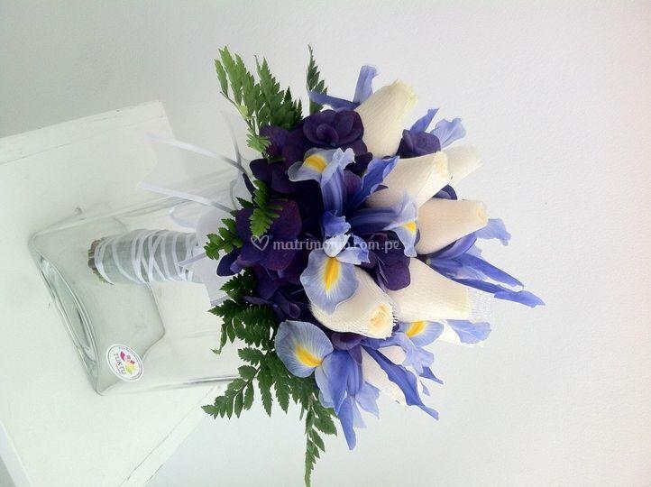 Bouquet rosas e iris