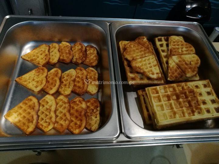 Waffles listos para toppings