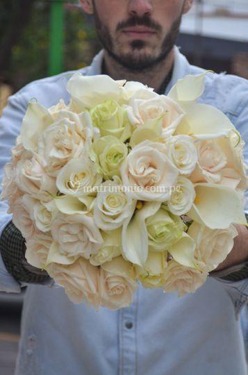 Ramo de novia - rosas y calas