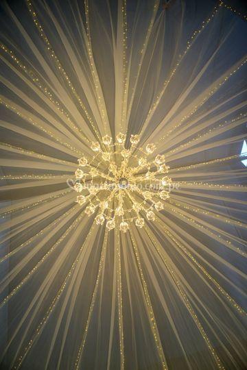Techo luces navideñas y lampar
