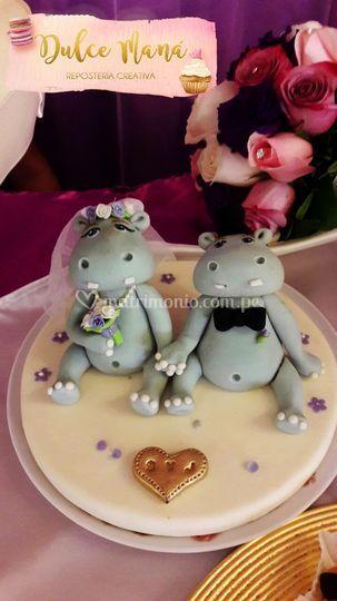 Toppers hipopótamos enamorados