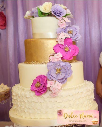 Dorado, fucsia, rosa y lila