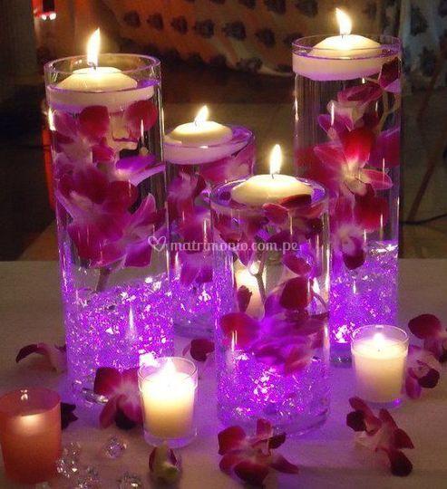 Cilindros con flores