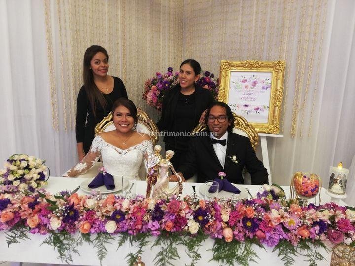 Foto con los recién casados