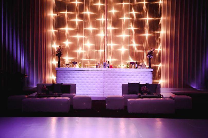 Backing bar de luces