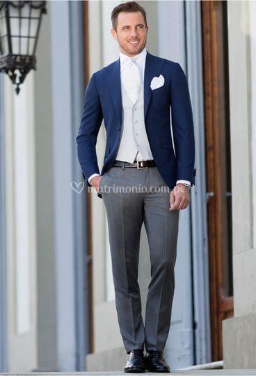 Azul italiano y gris de gala