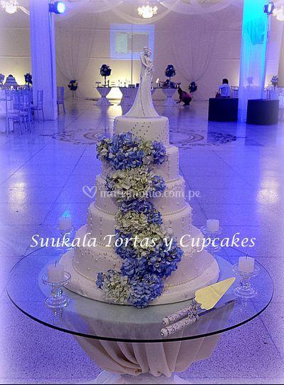 Torta fantasía hortencias