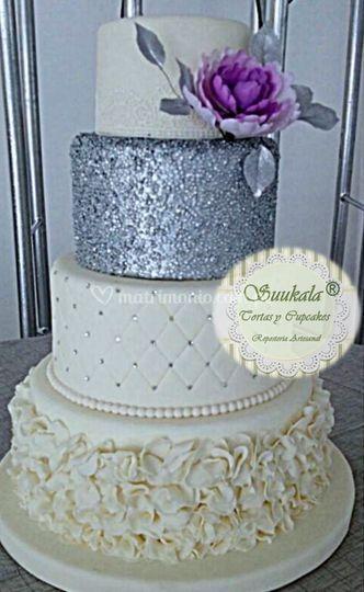 Torta bodas de plata-peonia