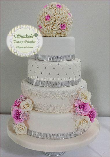Torta boda-fucsia y plata