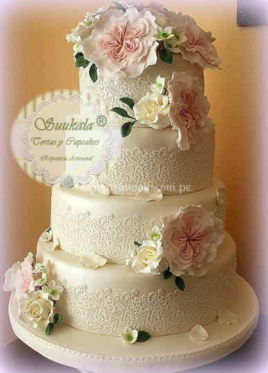 Torta rosas inglesas vintage